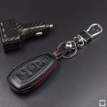 Leder Hartschalen Cover passend für Ford Schlüssel schwarz LEK48-F5