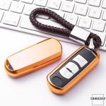 Glossy Silikon Schutzhülle / Cover passend für Mazda Autoschlüssel MZ1, MZ2 gold