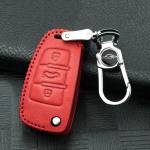 RUSTY Leder Schlüssel Cover passend für Audi Schlüssel rot LEK13-AX3