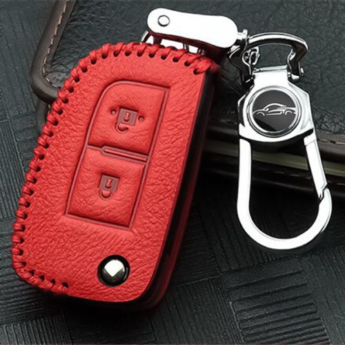 RUSTY Leder Schlüssel Cover passend für Nissan Schlüssel rot LEK13-N1