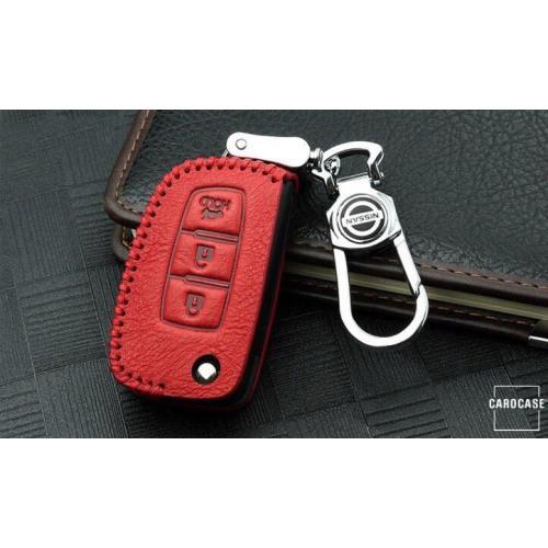 RUSTY Leder Schlüssel Cover passend für Nissan Schlüssel rot LEK13-N2