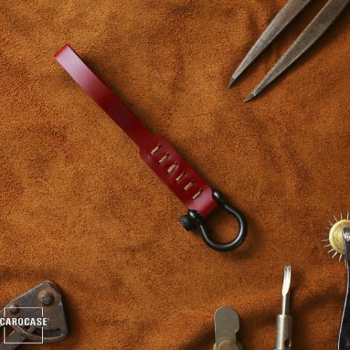 Premium Lederband mit schwarzem Karabiner rot