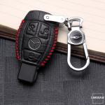 KROKO Leder Schlüssel Cover passend für Mercedes-Benz Schlüssel schwarz/rot LEK44-M7