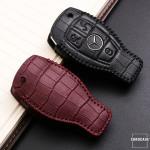 KROKO Leder Schlüssel Cover passend für Mercedes-Benz Schlüssel  LEK44-M8