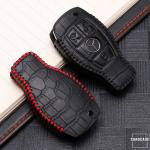 KROKO Leder Schlüssel Cover passend für Mercedes-Benz Schlüssel schwarz/rot LEK44-M8