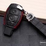 KROKO Leder Schlüssel Cover passend für Mercedes-Benz Schlüssel schwarz/rot LEK44-M6