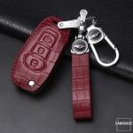 KROKO Leder Schlüssel Cover passend für Ford Schlüssel  LEK44-F2