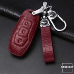 KROKO Leder Schlüssel Cover passend für Ford Schlüssel  LEK44-F3