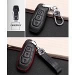 KROKO Leder Schlüssel Cover passend für Ford Schlüssel schwarz/schwarz LEK44-F3