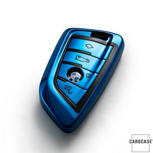 Black-Glossy Silikon Schutzhülle passend für BMW Schlüssel blau SEK7-B6-4