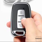 Black-Glossy Silikon Schutzhülle passend für Hyundai Schlüssel  SEK7-D3