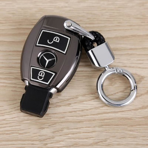 Schutzhülle Cover passend für Mercedes-Benz Autoschlüssel silber mit Leuchtfunktion ohne Batterien HEK18-M6-15