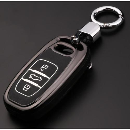 Schutzhülle Cover passend für Audi Autoschlüssel silber mit Leuchtfunktion ohne Batterien HEK18-AX4-15