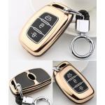 Schutzhülle Cover passend für Hyundai Autoschlüssel gold mit Leuchtfunktion ohne Batterien HEK18-D2-16