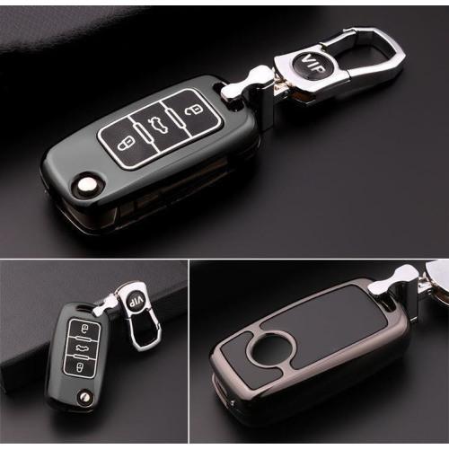 Schutzhülle Cover passend für Volkswagen, Skoda, Seat Autoschlüssel silber mit Leuchtfunktion ohne Batterien HEK18-V2-15