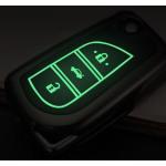 Schutzhülle Cover passend für Toyota, Citroen, Peugeot Autoschlüssel anthrazit mit Leuchtfunktion ohne Batterien HEK18-T2-37