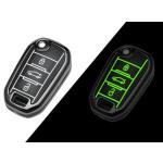 Schutzhülle Cover passend für Citroen, Peugeot Autoschlüssel  mit Leuchtfunktion ohne Batterien HEK18-P3