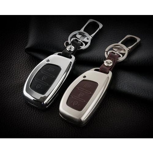 Alu Hartschalen Schlüssel Case passend für Hyundai Autoschlüssel champagner matt/braun HEK2-D2-30