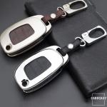 Alu Hartschalen Schlüssel Case passend für Hyundai Autoschlüssel champagner matt/braun HEK2-D6-30