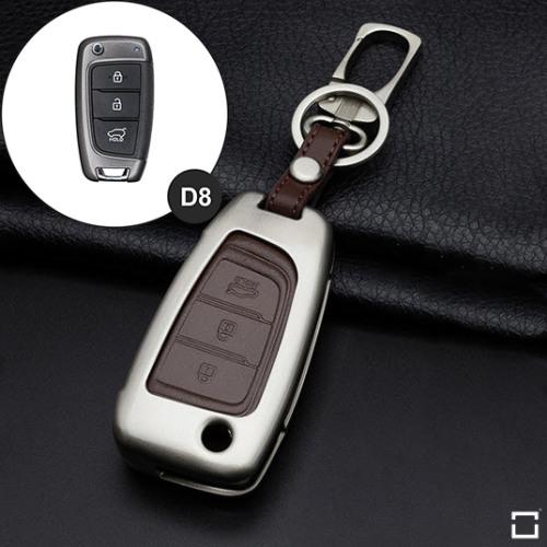 Alu Hartschalen Schlüssel Case passend für Hyundai Autoschlüssel champagner matt/braun HEK2-D8-30