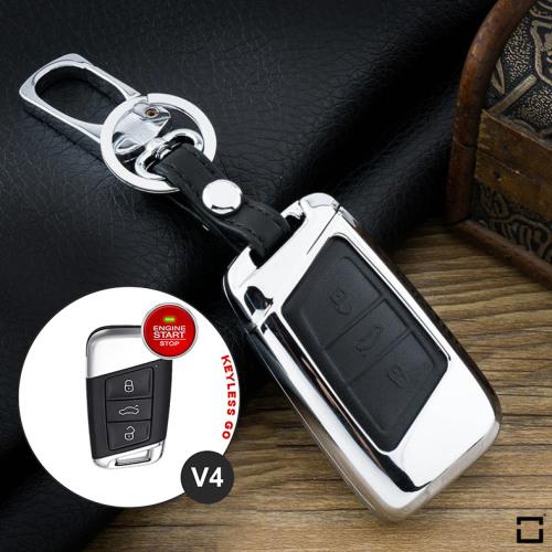 Alu Hartschalen Schlüssel Case passend für Volkswagen, Skoda, Seat Autoschlüssel chrom/schwarz HEK2-V4-29