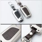 Alu Hartschalen Schlüssel Case passend für Toyota Autoschlüssel chrom/schwarz HEK2-T1-29