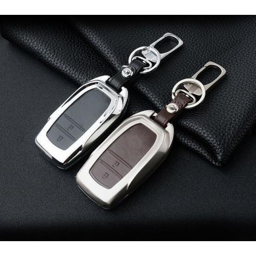Alu Hartschalen Schlüssel Case passend für Toyota Autoschlüssel champagner matt/braun HEK2-T3-30