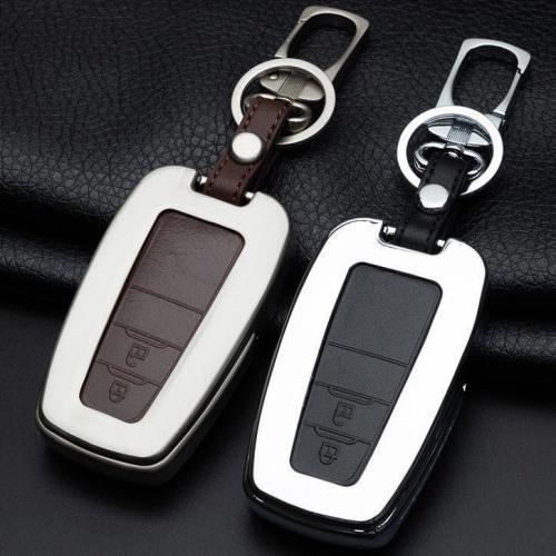 Alu Hartschalen Schlüssel Case passend für Toyota Autoschlüssel chrom/schwarz HEK2-T5-29