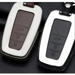 Alu Hartschalen Schlüssel Case passend für Toyota Autoschlüssel chrom/schwarz HEK2-T6-29