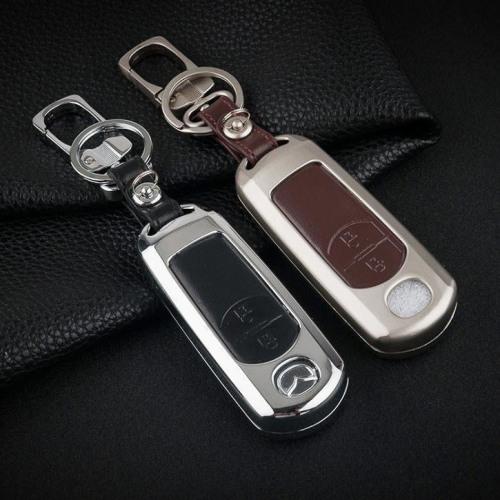 Alu Hartschalen Schlüssel Case passend für Mazda Autoschlüssel chrom/schwarz HEK2-MZ1-29