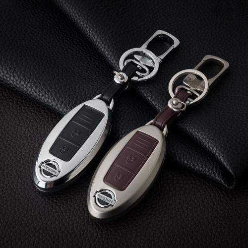 Alu Hartschalen Schlüssel Case passend für Nissan Autoschlüssel chrom/schwarz HEK2-N5-29