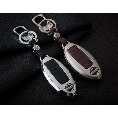 Alu Hartschalen Schlüssel Case passend für Nissan Autoschlüssel chrom/schwarz HEK2-N8-29
