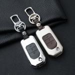 Alu Hartschalen Schlüssel Case passend für Honda Autoschlüssel chrom/schwarz HEK2-H10-29