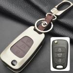 Alu Hartschalen Schlüssel Case passend für Hyundai, Kia Autoschlüssel chrom/schwarz HEK2-D5-29