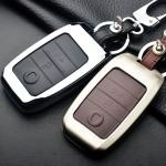 Alu Hartschalen Schlüssel Case passend für Kia Autoschlüssel chrom/schwarz HEK2-K7-29
