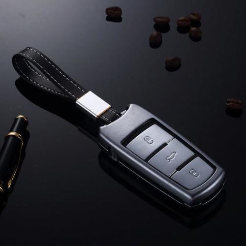 Alu Schlüssel Cover für Volkswagen Schlüssel inkl. Lederband grau HEK34-V6-17