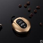 Alu Schlüssel Cover für MINI Schlüssel inkl. Lederband gold HEK34-MC3-16
