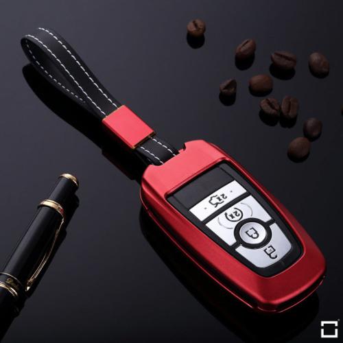 Alu Schlüssel Cover für Ford Schlüssel inkl. Lederband rot HEK34-F8-3