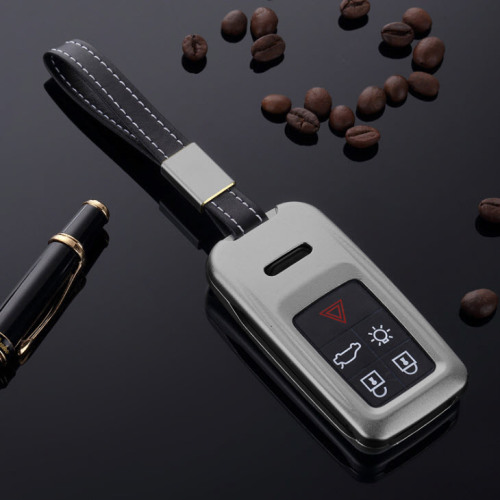 Alu Schlüssel Cover für Volvo Schlüssel inkl. Lederband grau HEK34-VL1-17