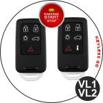 Alu Schlüssel Cover für Volvo Schlüssel inkl. Lederband schwarz HEK34-VL1-1