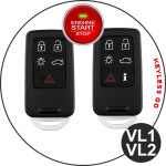 Alu Schlüssel Cover für Volvo Schlüssel inkl. Lederband silber HEK34-VL1-15