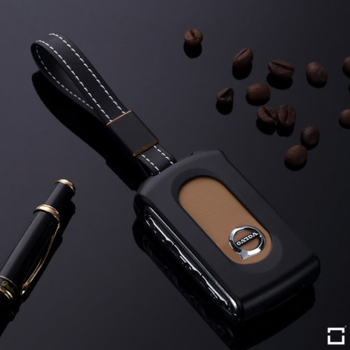 Alu Schlüssel Cover für Volvo Schlüssel inkl. Lederband schwarz HEK34-VL3-1