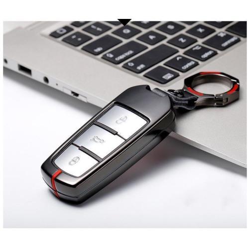 C-LINE Hartschalen Schlüssel Cover passend für Volkswagen Schlüssel chrom/rot HEK6-V6-47
