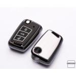 Hartschalen Schlüssel Cover passend für Volkswagen, Audi, Skoda, Seat Autoschlüssel mit Leuchtfunktion schwarz HEK19-V3-1