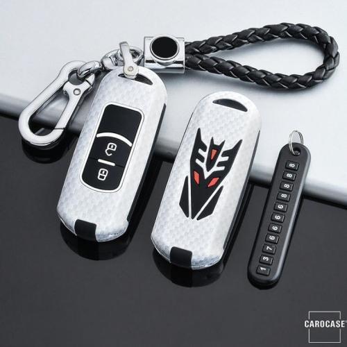 Nachleuchtende Schlüssel Cover passend für Mazda Autoschlüssel weiß HEK20-MZ1-19