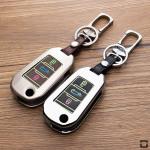 Alu Hartschalen Schlüssel Cover passend für Citroen, Peugeot Autoschlüssel mit Leuchtfunktion  HEK17-P3