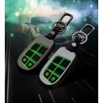 Alu Hartschalen Schlüssel Cover passend für Jeep, Fiat Autoschlüssel mit Leuchtfunktion  HEK17-J4