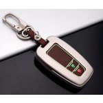 Alu Hartschalen Schlüssel Cover passend für Toyota Autoschlüssel mit Leuchtfunktion champagner matt/braun HEK17-T5-30