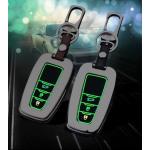 Alu Hartschalen Schlüssel Cover passend für Toyota Autoschlüssel mit Leuchtfunktion chrom/schwarz HEK17-T6-29
