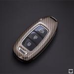 Premium Carbon-Look Aluminium Schlüssel Cover passend für Hyundai Schlüssel  HEK32-D9